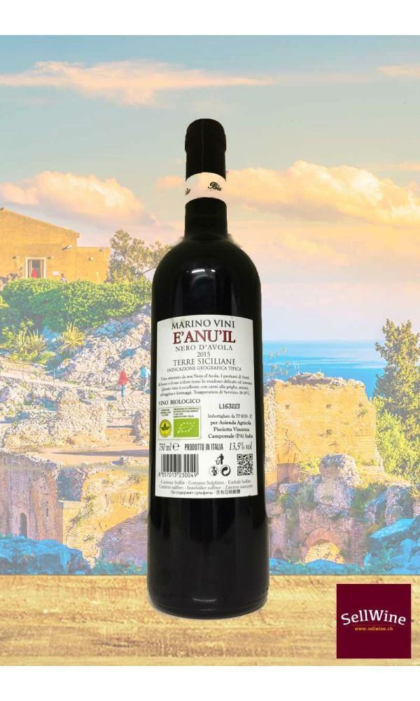SellWine-Marino Vini E'anuil Nero d'Avola Terre Siciliane IGT BIO 2015-Etichetta