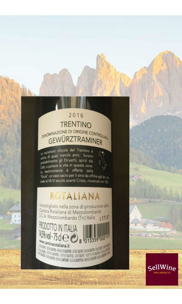 SellWine-Cantina Rotaliana Gewürztraminer Trentino DOC 2016-Etichetta