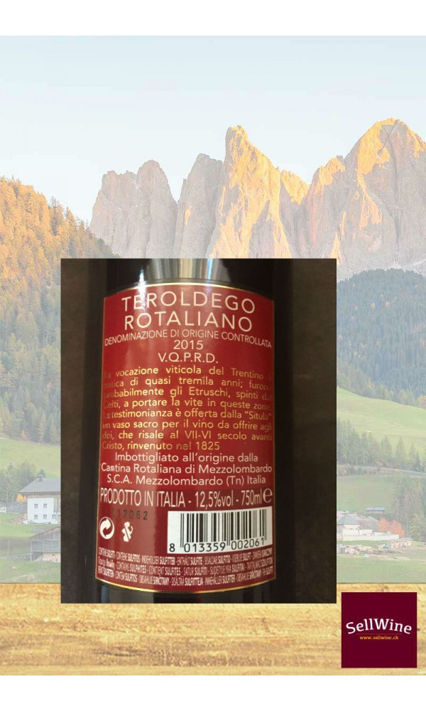 SellWine-Cantina Rotaliana Teroldego Rotaliano DOC Etichetta Rossa 2015-Etichetta