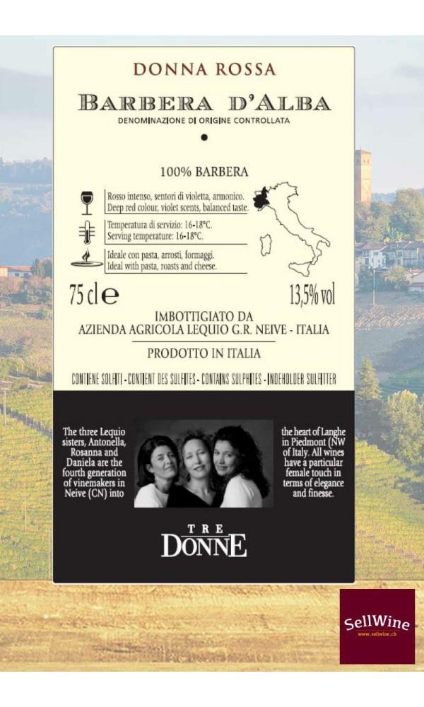 SellWine-Tre Donne Barbera D'Alba DOC Donna Rossa 2016-Etichetta