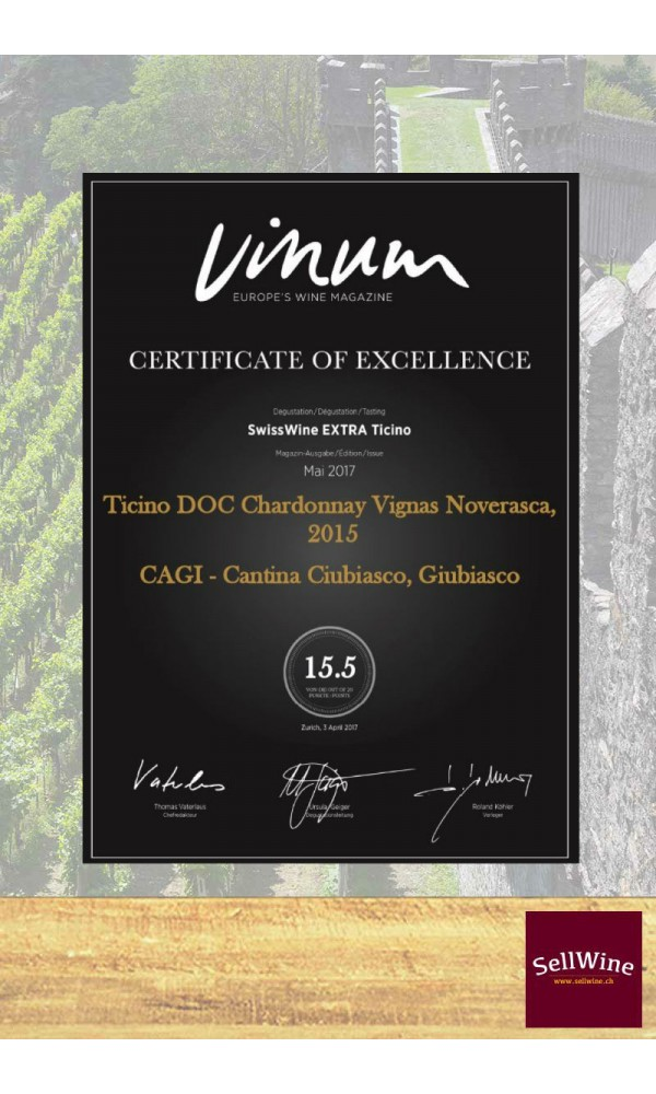 SellWine-CAGI Cantina Giubiasco Vigna Noverasca Ticino DOC Chardonnay Barricato 2015-Premio