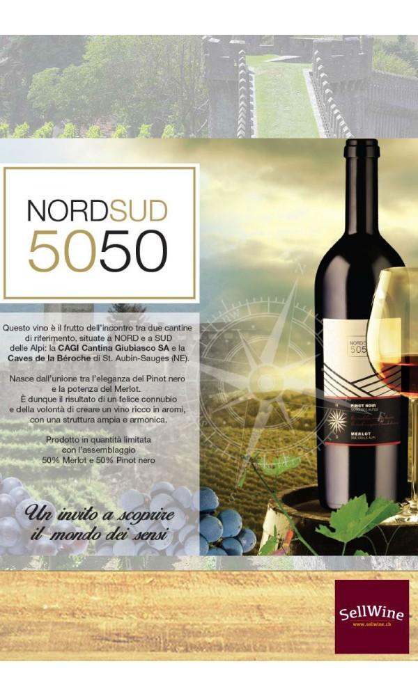 SellWine / CAGI e Caves de la Béroche Nord Sud 50 50 Merlot e Pinot nero Barricato Svizzera IGT 2014-Etichetta
