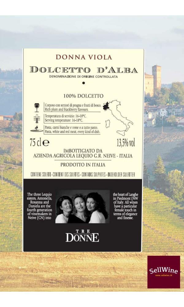 SellWine-Tre Donne Dolcetto D'Alba DOC Donna Viola 2017-Etichetta