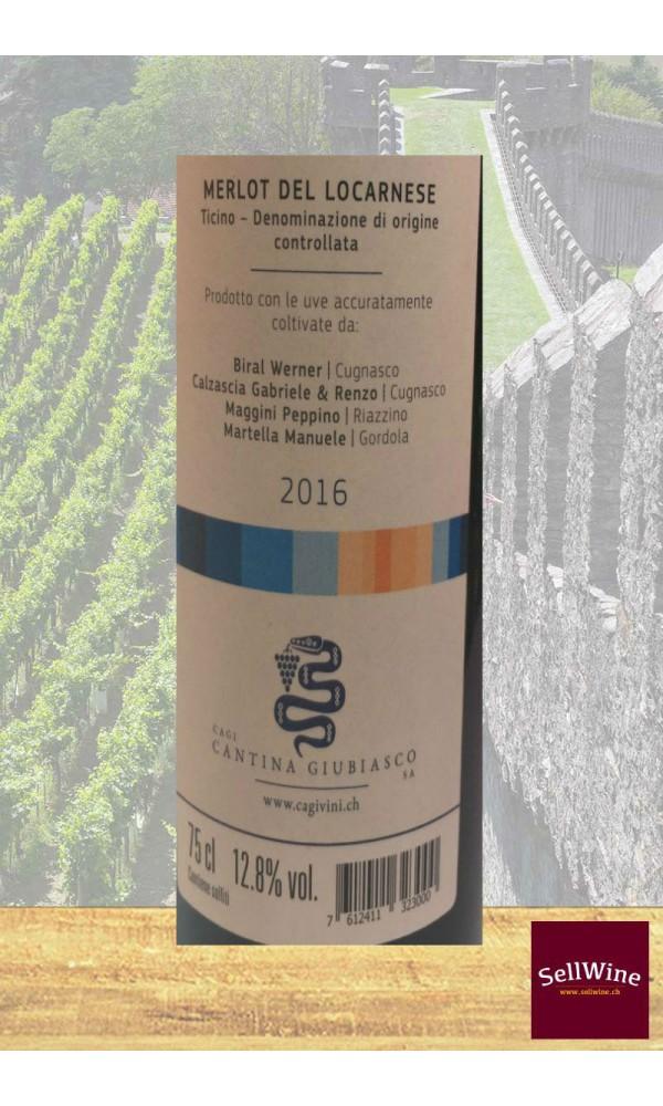SellWine / CAGI Cantina Giubiasco Merlot del Locarnese Ticino DOC 2016-Etichetta